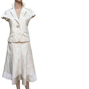 Ivory wrinkle effect lady 2 piece suit